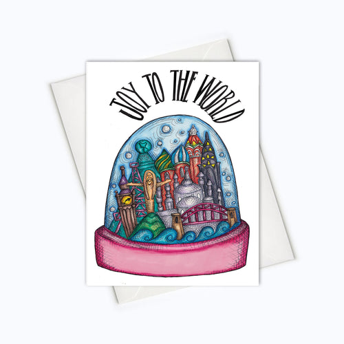 WORLD HOLIDAY CARD - Joy To The World Christmas Card - Snowglobe Card