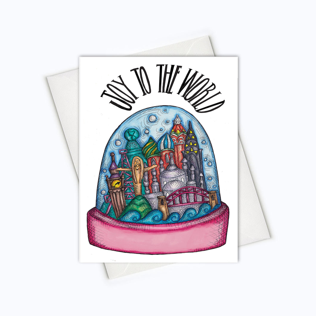WORLD HOLIDAY CARD | Joy To The World Holiday Card | Snow Globe Card | Holiday Stationery | Christmas Card