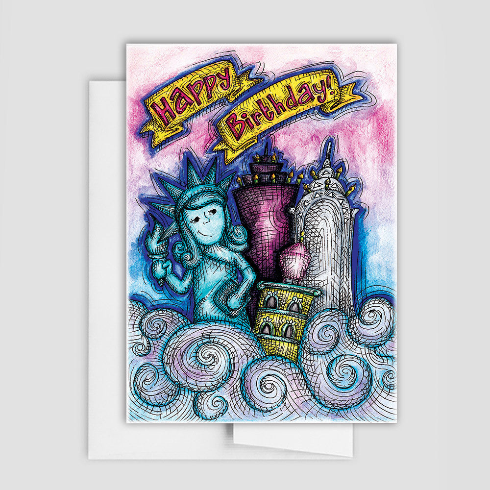 SKYLINE BIRTHDAY CARD - City Skyline Birthday Card