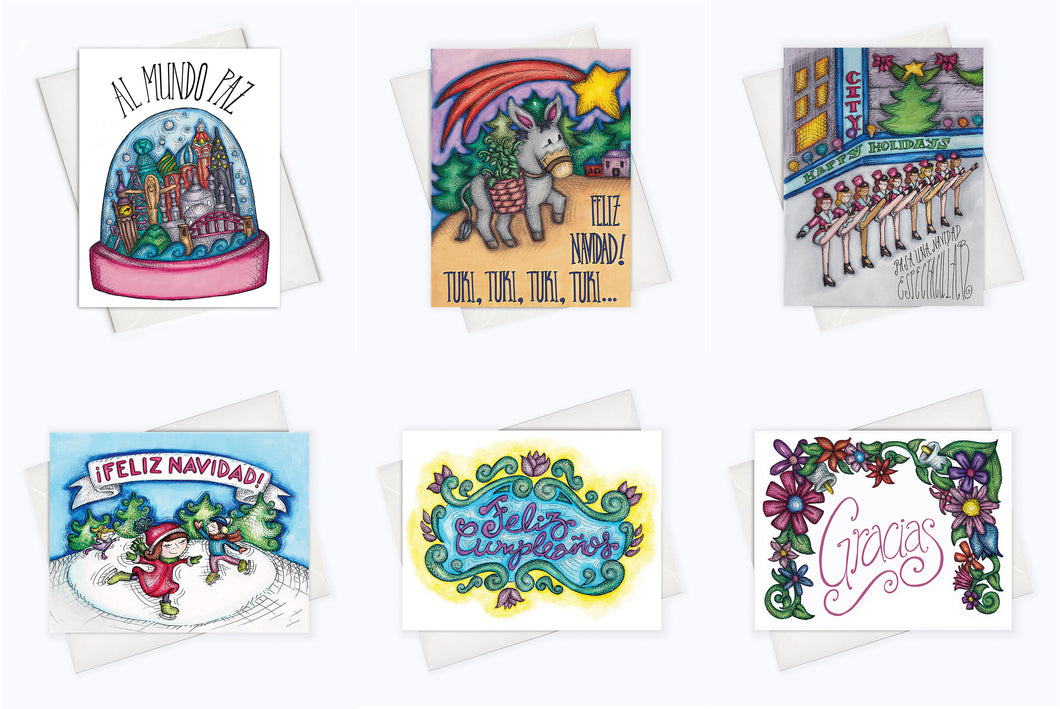 LATINX HOLIDAY CARDS STARTER PACK | Set of 6 Spanish Cards & Latinx Cards (WE ALL GROW #AMIGAS PROMO)