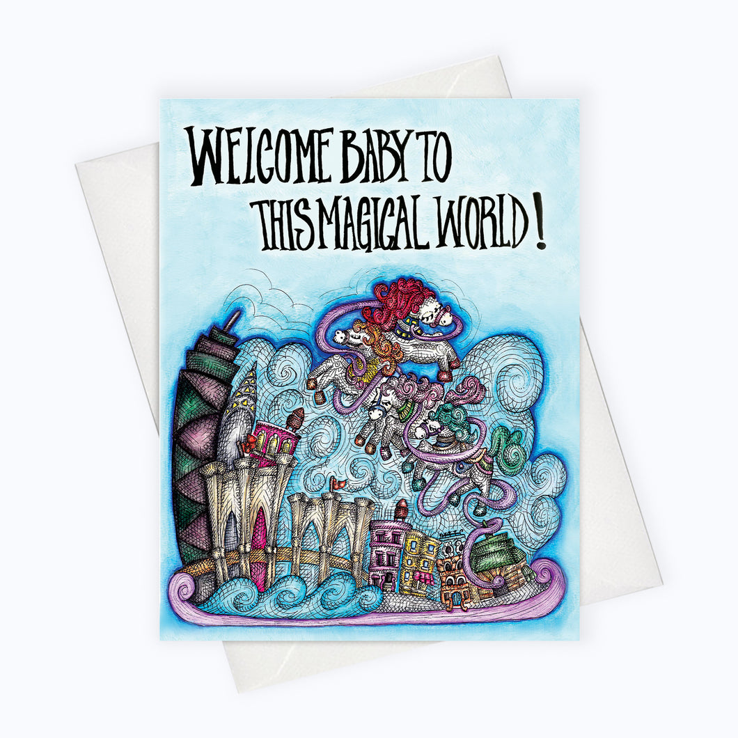 Welcome magical world baby shower card