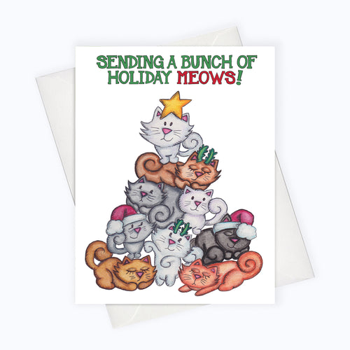 bunch of cats on a christmas tree cat holiday card saying