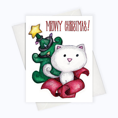 Meowy Christmas Card Cute Cat Christmas Card Cat Holiday Card for Cat Lovers
