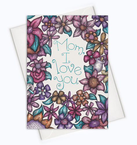 MOM I LOVE YOU CARD-Floral Mother's Day Card