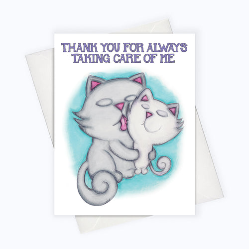 Cat grooming illustration cat parenthood card