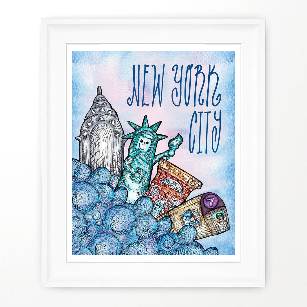 NYC icons print New York City Skyline kids room art