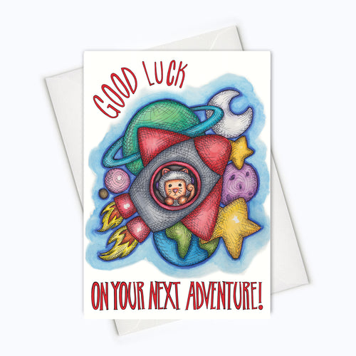 GOOD LUCK CAT CARD | Farewell Cat Card | Congratulations Cat Card | Congratulations Stationery | Cute Cat Card | Farewell Stationery