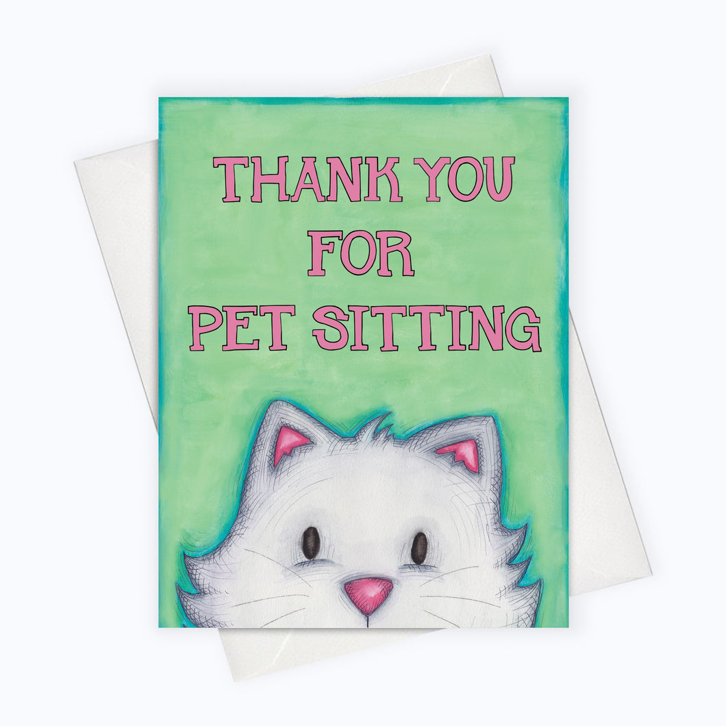 THANKS FOR PET SITTING Card | Cat Lover Greeting Card | Thank You Card | Cute Cat Card | Cat Sitting Card | Pet Stationery