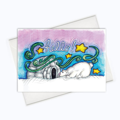 Polar Bear Card, northern Lights Art