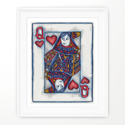 QUEEN OF HEARTS PRINT - Queens Poster