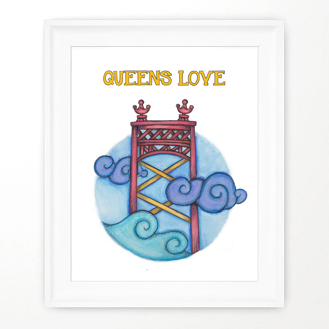 Queens bridge print, poster of Queens love on the skyline