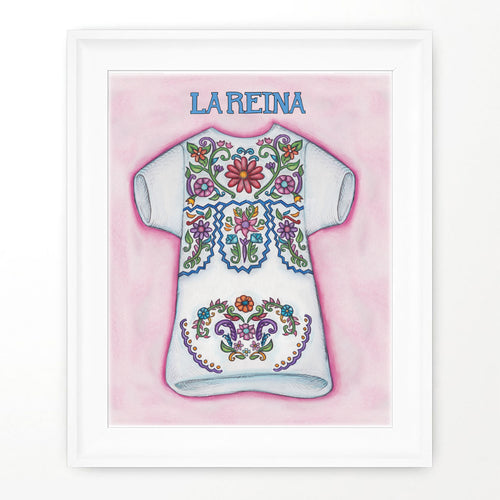 Mexican dress art print reina dress wall print