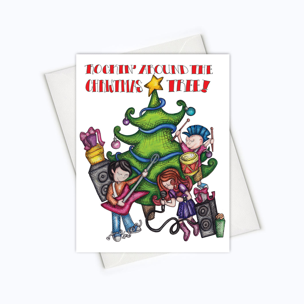 HOLIDAY CARD | Rocking Around The Christmas Tree Christmas Card | Punk Card | Holiday Stationery | Christmas Card