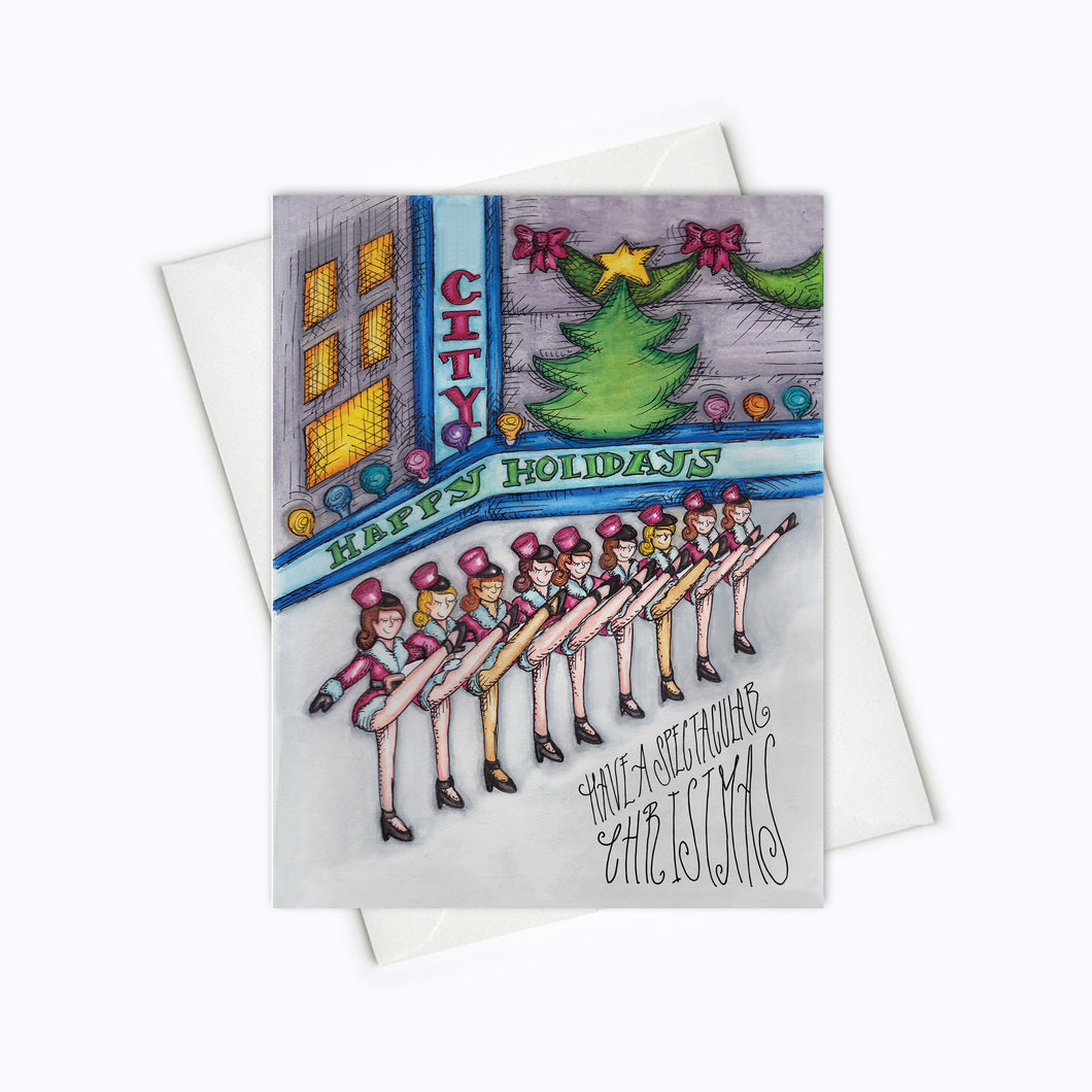 Rockettes Card Holiday Card Christmas Spectacular Christmas Card Rockettes Illustration NYC Card New York Holiday Card