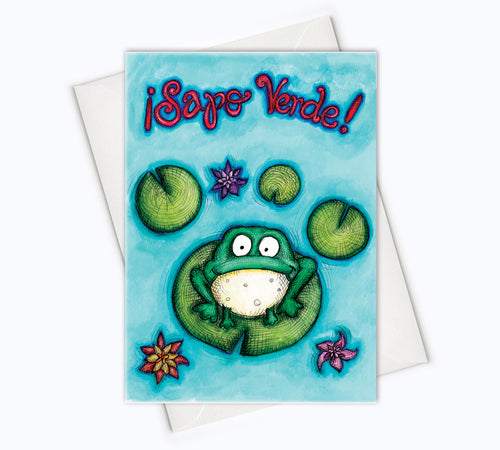 SPANISH BIRTHDAY CARD - Sapo Verde Feliz Cumpleaños Card