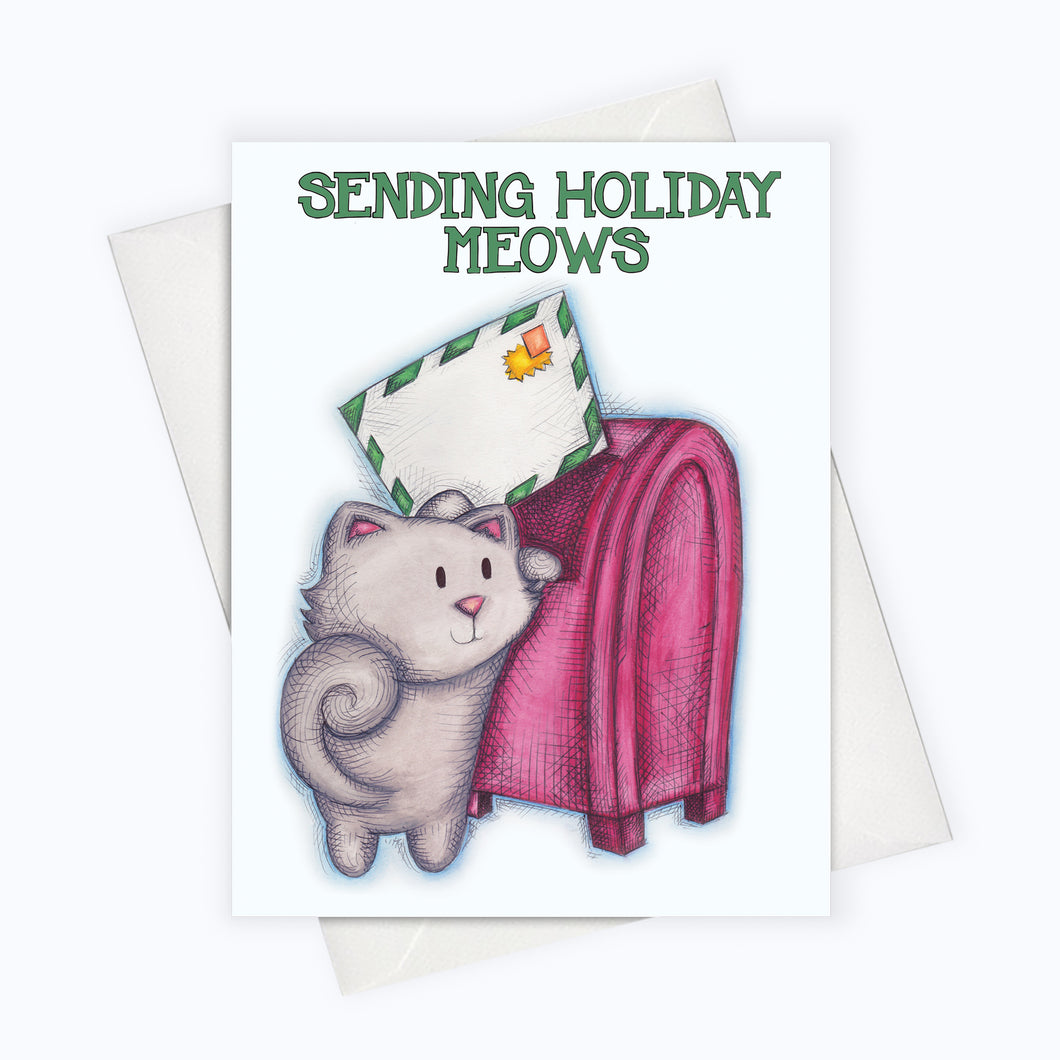 CAT HOLIDAY CARD | Sending Holiday Meows Cat Holiday Greeting Card | Holiday Stationery | Christmas Card | Cat Lovers Holiday