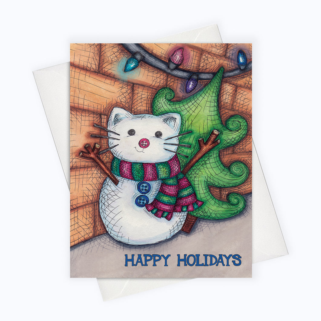 HOLIDAY CAT CARD - Snowcat Greeting Card - Snowy Cat Christmas Card