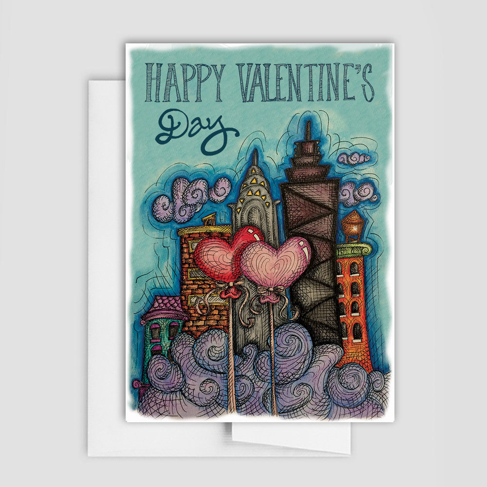 SKYLINE VALENTINE CARD- Happy Valentine's Day Card