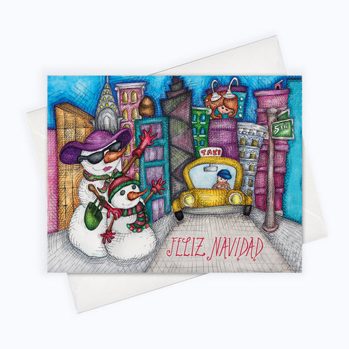 SPANISH HOLIDAY CARD | Taxi Holiday Greeting Card | Holiday Stationery | Tarjeta de Navidad | Snowman