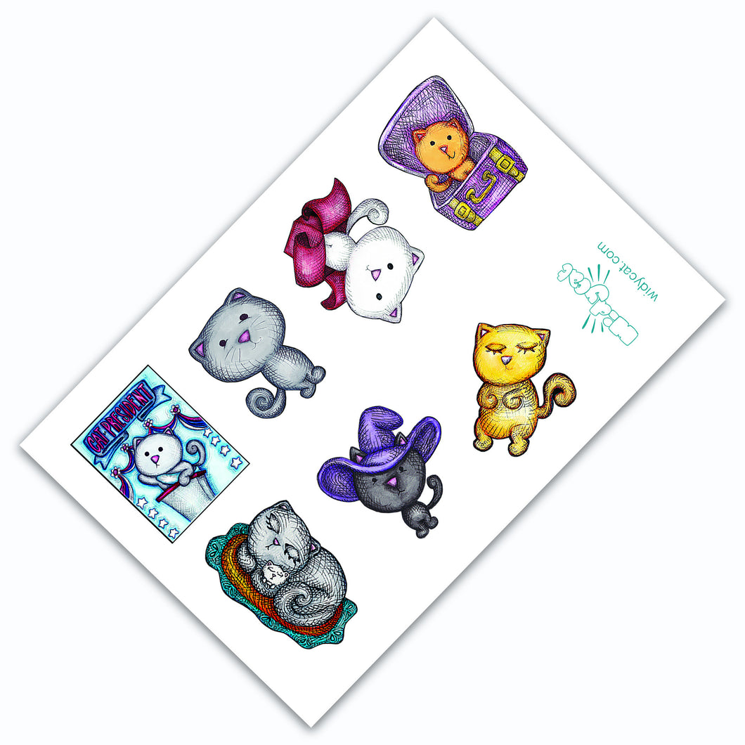 CAT STICKERS - Funny Cat Sticker Sheet