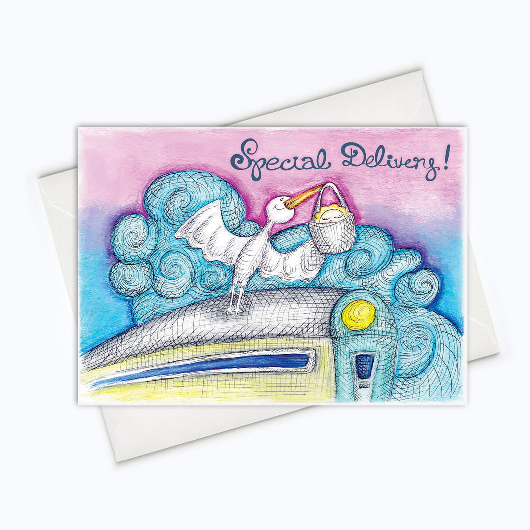 SPECIAL DELIVERY CARD - Stork Baby Shower Card