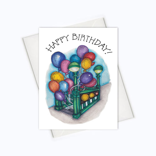 BALLOONS SUBWAY BIRTHDAY CARD - City Birthday Card - Birthday Greeting Card