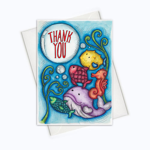Under the sea greeting card fishes thank you card