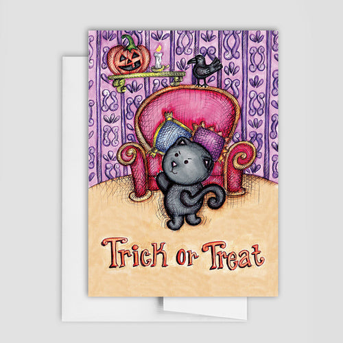 HALLOWEEN CAT CARD - Trick Or Treat Card