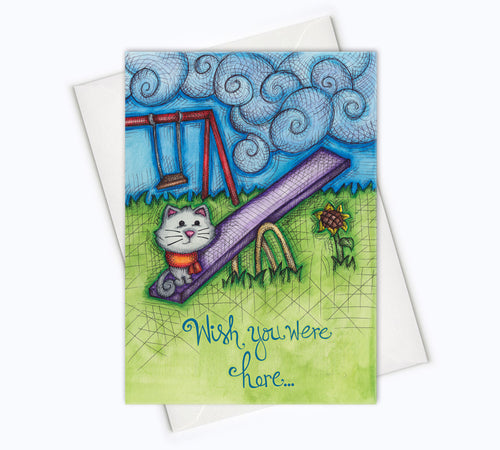 MISSING YOU Cat Card - I Miss You Card - Wish You Were Here Card