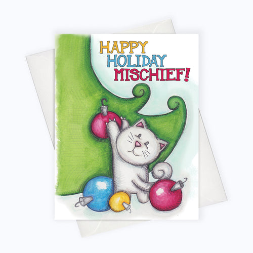 MISCHIEF CAT HOLIDAY CARD | Messy Cat Holiday Greeting Card | Holiday Stationery | Christmas Cat Card
