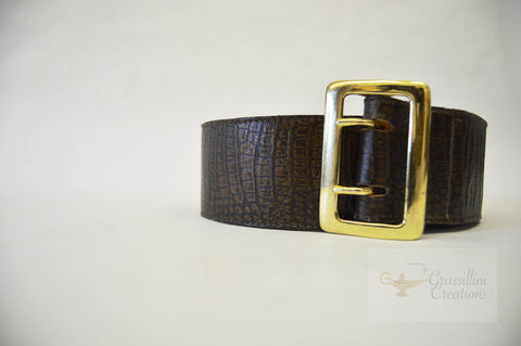Tooled floral pattern leather belt