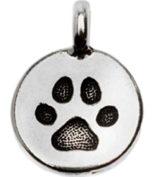 Antiqued Silver Plated Pewter Charm, Round Paw Print - Custom bracelet design