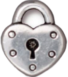 Silver Plated Pewter Heart Lock Keyhole Charm - Custom bracelet design