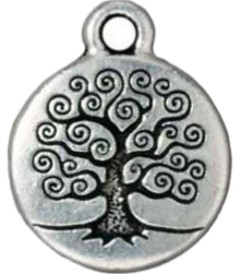 Silver Plated Pewter Round Tree Of Life - Custom bracelet design