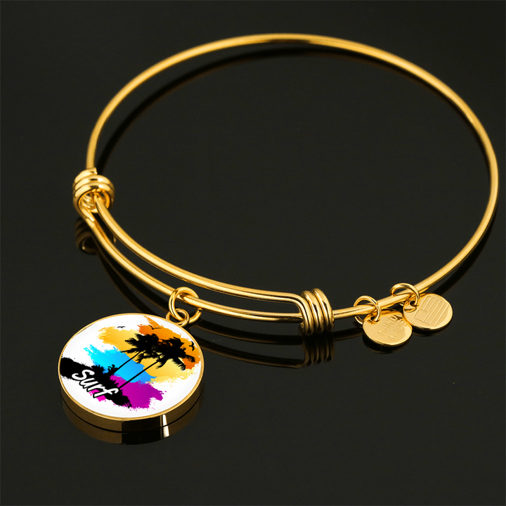 Gold Plated Surf Bangle Bracelet / Necklace - Custom bracelet design