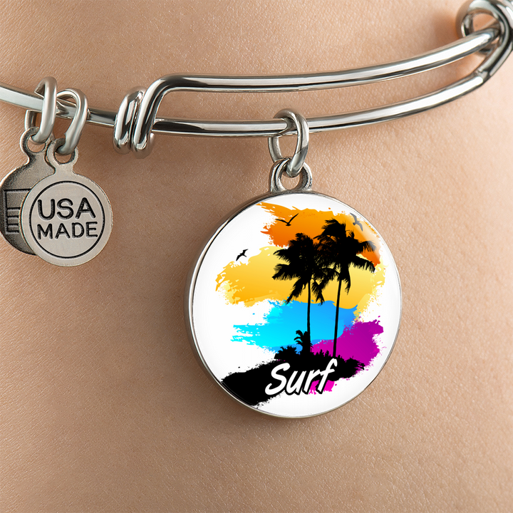 Bangle Bracelet With Surf Charm - Custom bracelet design