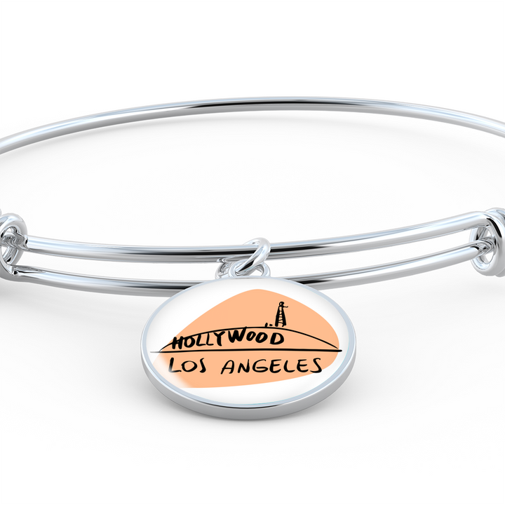 Photo charm wire bangle bracelet - City Edition (LOS ANGELES) - Custom bracelet design