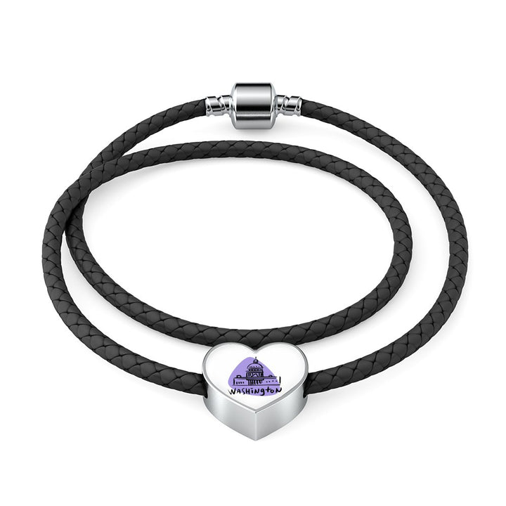 Heart charm with leather bracelet - Custom bracelet design