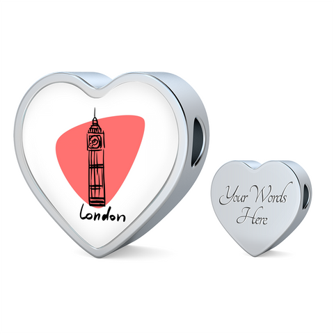 Heart Photo charm - City Edition (LONDON) - Custom bracelet design
