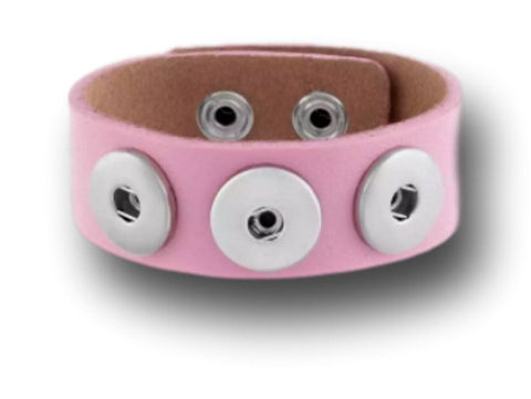 Interchangeable leather snap bracelet for 3 snap buttons (pink) - Custom bracelet design