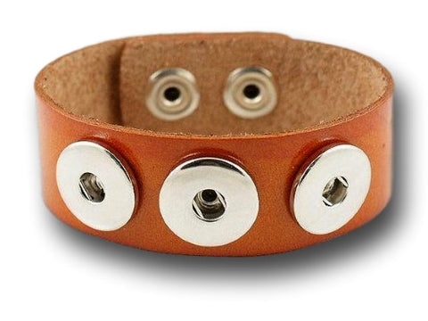Interchangeable leather snap bracelet for 3 snap buttons (light brown) - Custom bracelet design