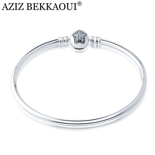 CZ Clear Crystal Star Bangle & Bracelet Fit European DIY Style Beads Charms Original European Brand Design Bracelets For Women - Custom bracelet design