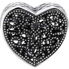 Black crystal heart bead (silver plated)