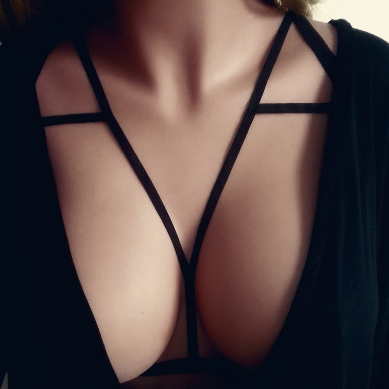 ce47445d93 Gothic Women Sexy Elastic Cage Bra Halter Hollow Out Harness -  DarkSoulFashion