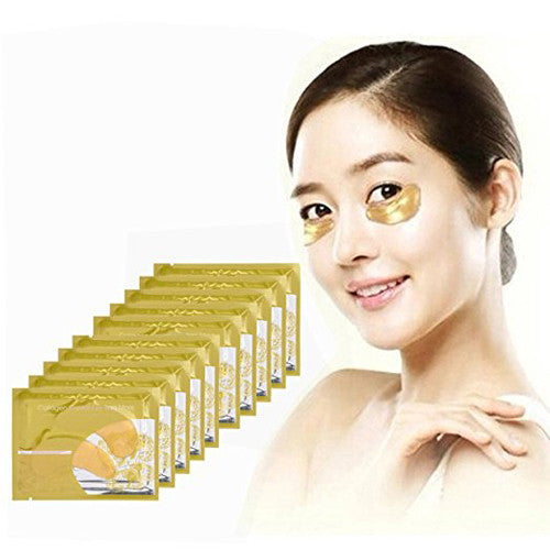 CCBeauty 10pcs Under Eye Gel Pads Patches for Eye Bag Dark Circle Treatment Remover Collagen Gold Eye Mask Sheets Anti Aging Wrinkle,10pcs