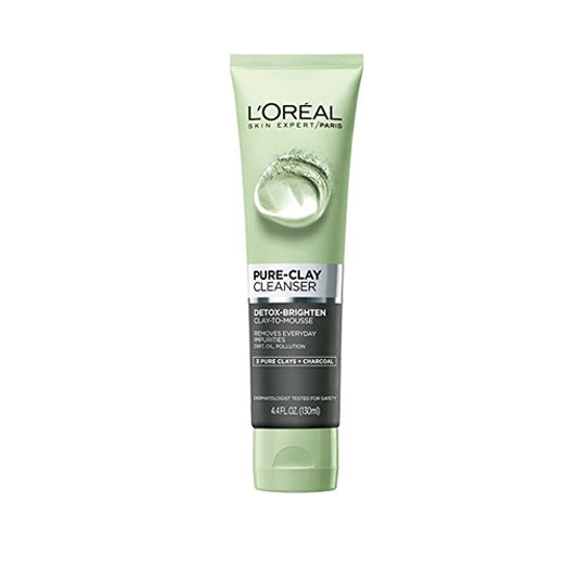 L'Oreal Paris Skin Care Pure Clay Cleanser, Detox & Brighten, 4.4 Fluid Oun