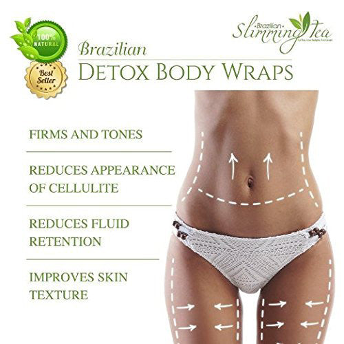 Brazilian Detox Clay Body Wraps (8-Applications) Slimming Home Spa Treatment for Cellulite, Weight Loss, Stretch Marks | Natural, Purifying Detoxifier for Smooth, Toned Skin