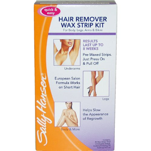 Sally Hansen Quick and Easy Hair Remover Wax Strip Kit For Under Arms Legs and Body Women