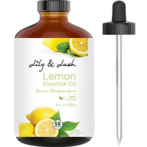 Lily & Lush XL 100% Pure & Natural Lemon Essential Oil – Undiluted - Therapeutic Grade w/Glass Dropper to Support Respiratory Illness, Anti-Aging, Weight Loss & Anti-Bacterial Cleaning