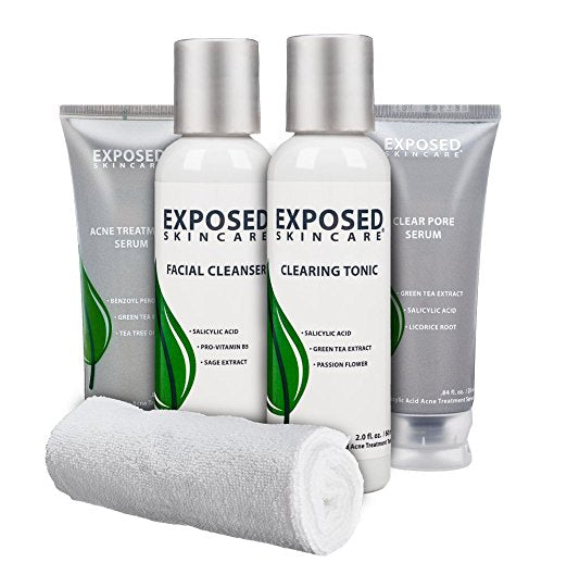 Exposed Acne Treatment Kit: 30 day Travel Kit with Benzoyl Peroxide and Salicylic Acid by Exposed Skin Care; Cleanser Toner and Dual Serums